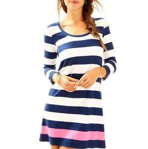 Lilly Pulitzer Devon Dress size L Striped Navy
